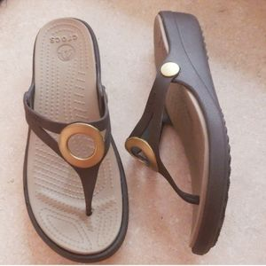 CROCS Brown Sandals with Gold detail